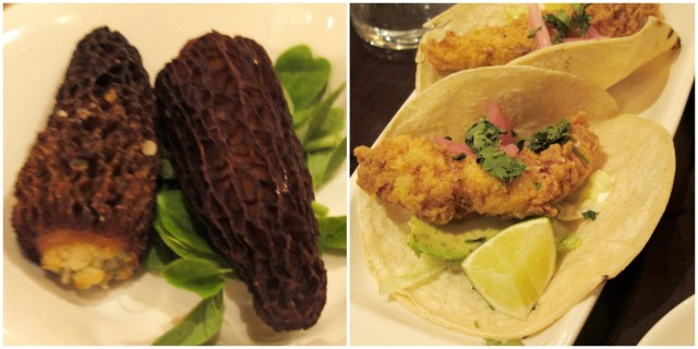 stuffed morel mushroom and fish taco