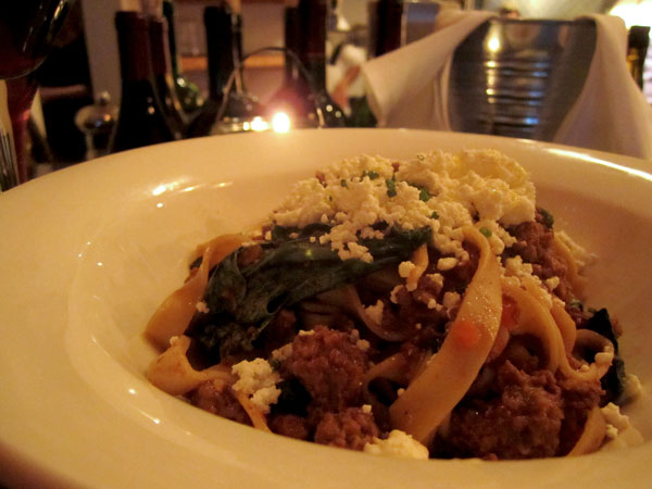 fettuccine with fava leaves and beef ragu