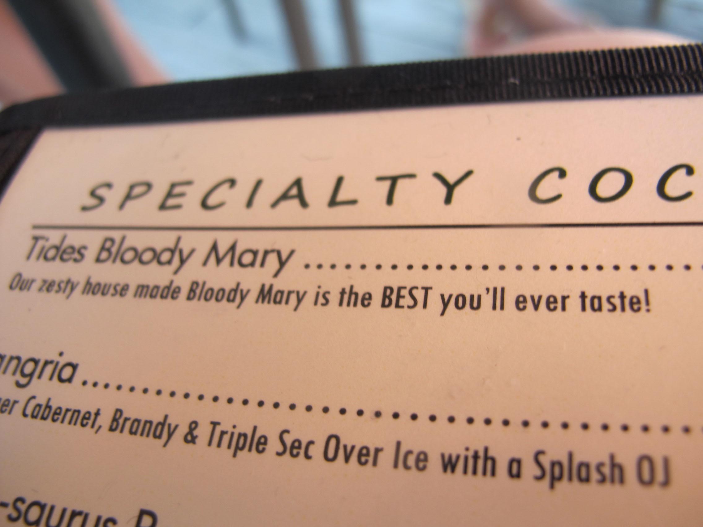 tides menu