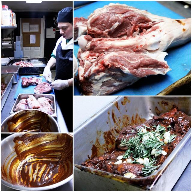 butchering lamb